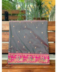 Gray Bridal Baluchari Art Silk Saree