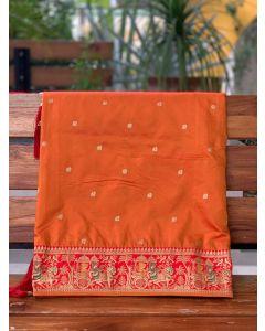 Deep Saffron Bridal Baluchari Art Silk Saree