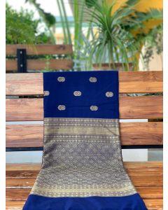 Navy Blue Skirt Pashmina Silk Saree