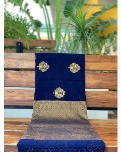 Navy Blue Embroidered Pashmina Silk Saree