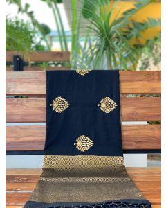 Black Embroidered Pashmina Silk Saree