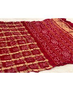 Crimson Red Chunri Gajji Silk Bandhani Saree