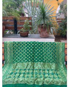Bottle Green Dupion Silk Bandhani Dupatta