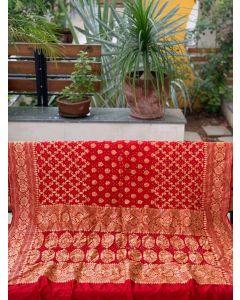 Red Dupion Silk Bandhani Dupatta