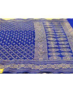 Royal Blue Dupion Silk Bandhani Dupatta