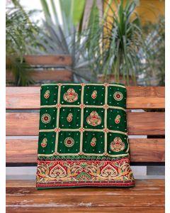 Green Gaji Silk Checks Woven Gharchola Saree