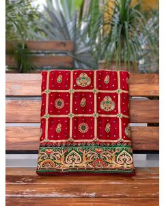 Red Gaji Silk Checks Woven Gharchola Saree