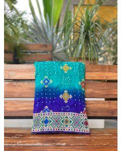 Rama Blue Dupion Silk Bandhani Saree