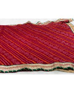 Blood Red Half Half Bandhani Saree